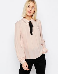 Image 1 of ASOS Contrast Tie Pleat Detail Blouse
