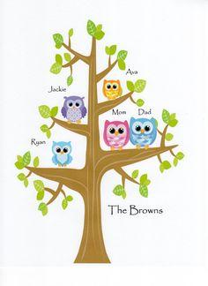Our Family Tree, Owl Style - Kids Wall Art Nursery Decor Baby Girl Nursery by JustSayItOutLoud, $12.00