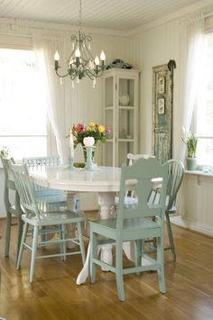 mix and match chairs, paint same color