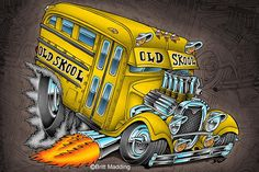 Old Skool Bus by on DeviantArt Cartoon Rat, Cartoon Pics, Monster Car, Monster Trucks, School Bus Drawing, Ed Roth Art, Cars Coloring Pages, Weird Cars, Crazy Cars