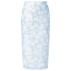 Burberry Lace Printed Technical Gauze Pencil Skirt ❤ liked on Polyvore featuring skirts, burberry, gonne, lacy skirt, lace pencil skirt, blue lace skirt and gauze skirt