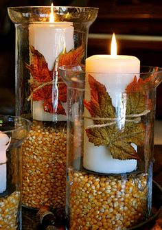 For the love of FALL! Popcorn is the filler & tie candles with a leaf and jute ~ easy peasy mantle or table centerpiece.