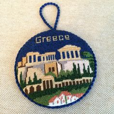 Greece travel ornament ~ canvas by Silver Needle