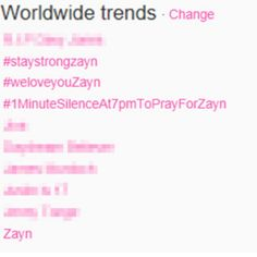 Prayers for zayn <3 4 worldwide trending topics. No one can ever tell me no one like one direction.