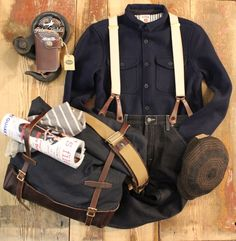 The Suspenders Combi with… New handmade suspenders and medium biker wallet from Timeless Leather Craftsmanship. Angus shirt from Kings Of Indigo. Canvas shoulder bag from The Superior Labor. Striped...