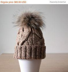 Fur pom pom hat Brown knit  hat Fur beanie by HatsAndOtherStories