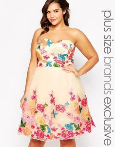 Chi Chi Plus | Chi Chi London Plus Bandeau Bright Floral Prom Dress at ASOS