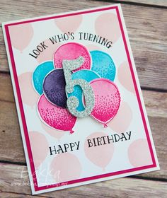 Whose Turning 5 - A Birthday Card Made With Stampin' Up! UK Supplies (Feeling Crafty) Look Whose Turning 5 - A Birthday Card Made With Stampin' Up! UK SuppliesLook Whose Turning 5 - A Birthday Card Made With Stampin' Up! Homemade Birthday Cards, Girl Birthday Cards, Bday Cards, Homemade Cards, Diy Birthday, Children Birthday Cards, Birthday Ideas, Birthday Supplies, Dinosaur Birthday