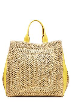 Accented with sunshine yellow leather, Emilio Pucci's natural straw tote is a summery choice for warmer climates. The roomy silhouette is perfect for poolside, with enough room for sunscreen, sunnies and your iPad #Stylebop