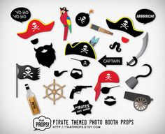 Pirate Party Photobooth Props  Digital  Instant by thatProps