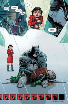 30 Greatest Comic Book Moments Of 2013 The Death of Damian Wayne, the latest person to wear the Robin costume. Nightwing, Batgirl, Dc Heroes, Comic Book Heroes, Comic Books Art, Comic Art, Book Art, Son Of Batman, Batman Robin