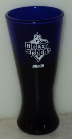 House of Blues Anaheim Tall Shot Glass Cobalt Blue Glass White Heart Shooter  ~ This Item is for sale at LB General Store http://stores.ebay.com/LB-General-Store ~Free Domestic Shipping ~