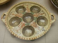 Slipware dish for making donuts, 19th century, Frechen, Germany Collection of Keramion Frechen, DE