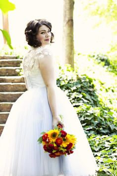50s style wedding dress by Chaviano Couture, Atlanta Wedding at Winn Park by (once like a spark) photography