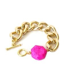 Gold Chunky Chain with Neon Pink Magnesite - JewelMint