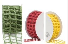 """AVAILABLE IN 3 COLORS  NOW ON SALE $10.70  FREE SHIPPING!  2.5"""" X 10yd Jute Wire Edge Ribbon Squares/Window Pane Red Green or Yellow NEW #KelToy"""