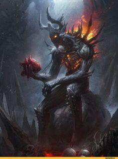 красивые картинки,Тёмное фэнтези,Fantasy,Fantasy art,art,арт,DONG GEON SON,демон,сердце