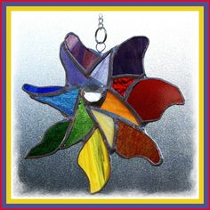 stained glass garden stakes patterns | £13 Pinwheel Rainbow Suncatcher Stained Glass