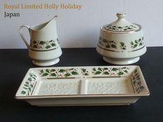 """Set ROYAL LIMITED HOLLY HOLIDAY Sugar Bowl Creamer and plate (9"""" long) NEW #RoyalLimitedHollyHoliday"""