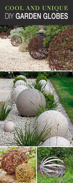 Cool and Unique DIY Garden Globes • Lots of great ideas & tutorials! • Explore this blog post and check out all the great garden globe projects using metal, rocks, marbles, wood... You can make these!  #DIYgardenglobes #gardenglobes #DIYgardenprojects #DIYgardenspheres #DIYmetalgardenglobe #DIY
