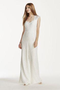 6cfd11bbae7e Wedding Dress V-neck Lace Jumpsuit - Ivory, 12 Wedding Jumpsuit, Wedding  Dresses