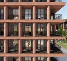 Office Building Architecture, Urban Architecture, Facade Pattern, Backyard Seating, Townhouse, Brick, Multi Story Building, Exterior, Mansions