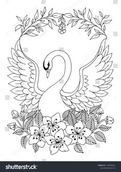 Find Vector Illustration Zentangl Beautiful Swan Spread stock images in HD and millions of other royalty-free stock photos, illustrations and vectors in the Shutterstock collection. Cushion Embroidery, Floral Embroidery Patterns, Embroidery On Kurtis, Bird Drawings, Cartoon Drawings, Swan Drawing, Coloring Books, Coloring Pages, Swan Painting
