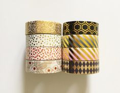 Gold Foil Washi Tape Ombre Confetti Rose Stripes by PapergeekCo