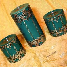 Set of 3 Green and Gold Henna Candles Hand Painted by EmanDesign
