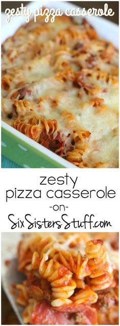 My family loves this Zesty Pizza Casserole from SixSistersStuff.com!