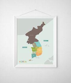 Korea Map Poster for Nursery Wall Art   8.5 x 11  by KamagiStudio, $18.00