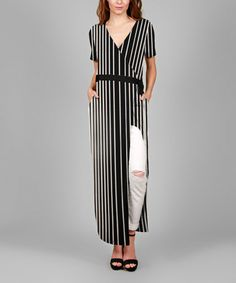 1e0918e9ec Simply Aster Black   White Stripe Side-Slit Maxi Dress - Plus Too