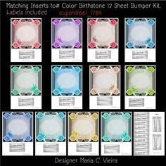 Inserts for Color Birthstone 12 Bumper Kit on Craftsuprint designed by Maria Christina Vieira  - 12 Sheet Birthstone matching Inserts Bumper Kit,for cup649661_1784.This kit comes with matching inserts and labels for Color Birthstone 12 Sheet Bumper Kit