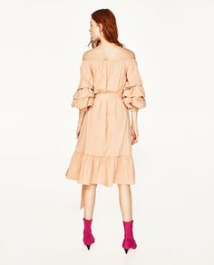 Image 6 of OFF-THE-SHOULDER POPLIN DRESS from Zara