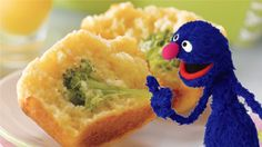 Grover's Broccoli Trees in Haystacks - these muffins are like hide-and-seek in the kitchen!