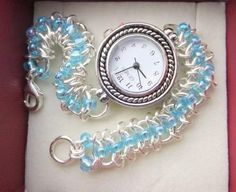 Chainmaille Beaded bracelet Watch #HAF #HAFshop #Handmade $38.00