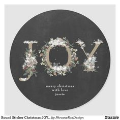 Shop Round Sticker Christmas JOY Chalk Holiday Florals created by PhrosneRasDesign. Holiday Photo Cards, Holiday Photos, Christmas Gift Tags, Holiday Gifts, Holiday Festival, Round Stickers, Vintage Flowers, Custom Stickers, Florals