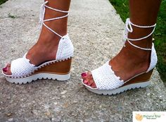 White knitted cosy sandals Summer Knitting, Enjoy Summer, Cosy, Sandals, Shoes Sandals, Sandal