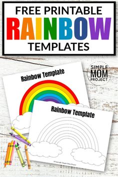 Free Printable Rainbow Templates in Large and Small - Simple Mom Project Printable Crafts, Templates Printable Free, Free Printables, St Patrick's Day Crafts, Crafts For Kids, Holiday Crafts, Shamrock Template, Fish Template, Love Rainbow