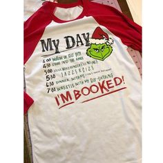 "Grinch ""I'm Booked"" Christmas Raglan tee"