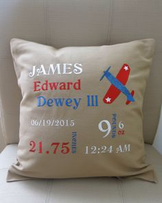 Birth Date Pillow Cover by 5littletoes on Etsy https://www.etsy.com/listing/241106654/birth-date-pillow-cover