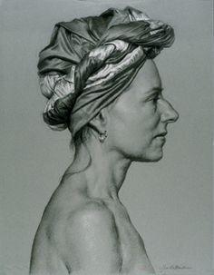 "Gilda with Turban  2006 | Black & White Chalk | 20"" x 15""... drawing by Jon deMartin"
