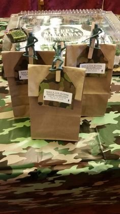 Army party favor set of 6. Military themed party favor bags. by ATouchofSummer on Etsy https://www.etsy.com/listing/461869828/army-party-favor-set-of-6-military