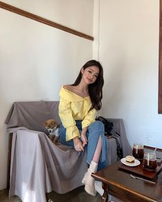 Image may contain: 1 person, sitting, shoes and indoor Korea Fashion, 90s Fashion, Womens Fashion, Fashion Trends, Chic Outfits, Girl Outfits, Korean Best Friends, Pretty Korean Girls, Girl Korea