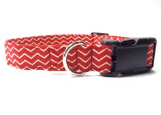 Classic Red and Cream Chevron Pattern Fabric Dog Collar    Ruff Roxy collars are handmade from stylish cotton fabrics, strengthened with multiple layers