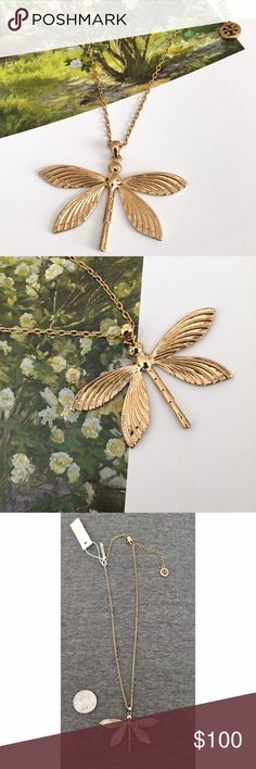 NWT Tory Burch Dragonfly Necklace This beautiful 16k gold plated necklace is fanciful and yet simple enough for everyday wear! Graceful etched wings make the dragonfly look almost ready to fly away! This necklace has never been worn but has a few light scratches on the back as pictured, barely noticable even upon close inspection! Tory Burch Jewelry Necklaces