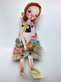 OOAK Original Hand Painted Paper Doll  Coming by GentlyEthereal
