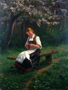 Hans Dahl,Norwegian artist.... Painting of a Norwegian girl in traditional dress.