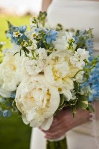 Beautiful white and blue bouquet with peonies from one of my Virginia brides. As featured in The Knot magazine. www.laurendrogers.com