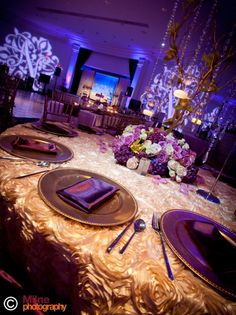 Image detail for -Post image for Suhaag Garden: Extraordinary Wedding Decor  i really like the gold plates with the purple accents in the silverware and napkins  danielle*